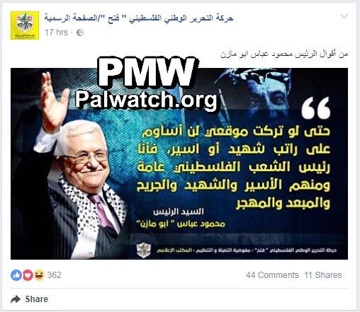 Abbas promete no detener los salarios de los terroristas, aunque le cueste la presidencia de la Autoridad Palestina – Por Nan Jacques Zilberdik