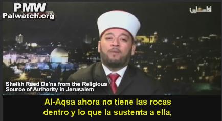 Mentiras Palestinas  Clérigo palestino - Israel está excanado por debajo  de la Mezquita de Al-Aksa