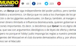El Mundo Deportivo (Catalunya) publica un análisis antisemita de Xavier Bosch - Por Gabriel Ben-Tasgal