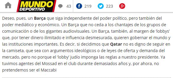 El Mundo Deportivo (Catalunya) publica un análisis antisemita de Xavier Bosch – Por Gabriel Ben-Tasgal