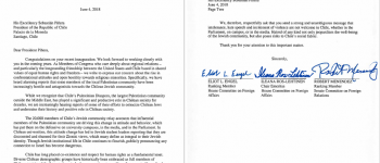 Carta al Presidente Piñera del Comité de Relaciones Exteriores de EE.UU. preocupados por el antisemitismo en Chile