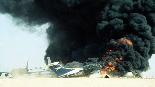 War and Conflict, Terrorism, pic: 12th September 1970, Dawson's Field, Jordan, The three highjacked jet airliners hijacked by Palestinian militants are blown up at the former RAF,desert airstrip, with dense black smoke nad flames from one of the planes, The Arab guerillas had held a Swissair DC8, a BOAC VC10, and a TWA 707 which had been flown to the remote airfield (Photo by Rolls Press/Popperfoto/Getty Images)