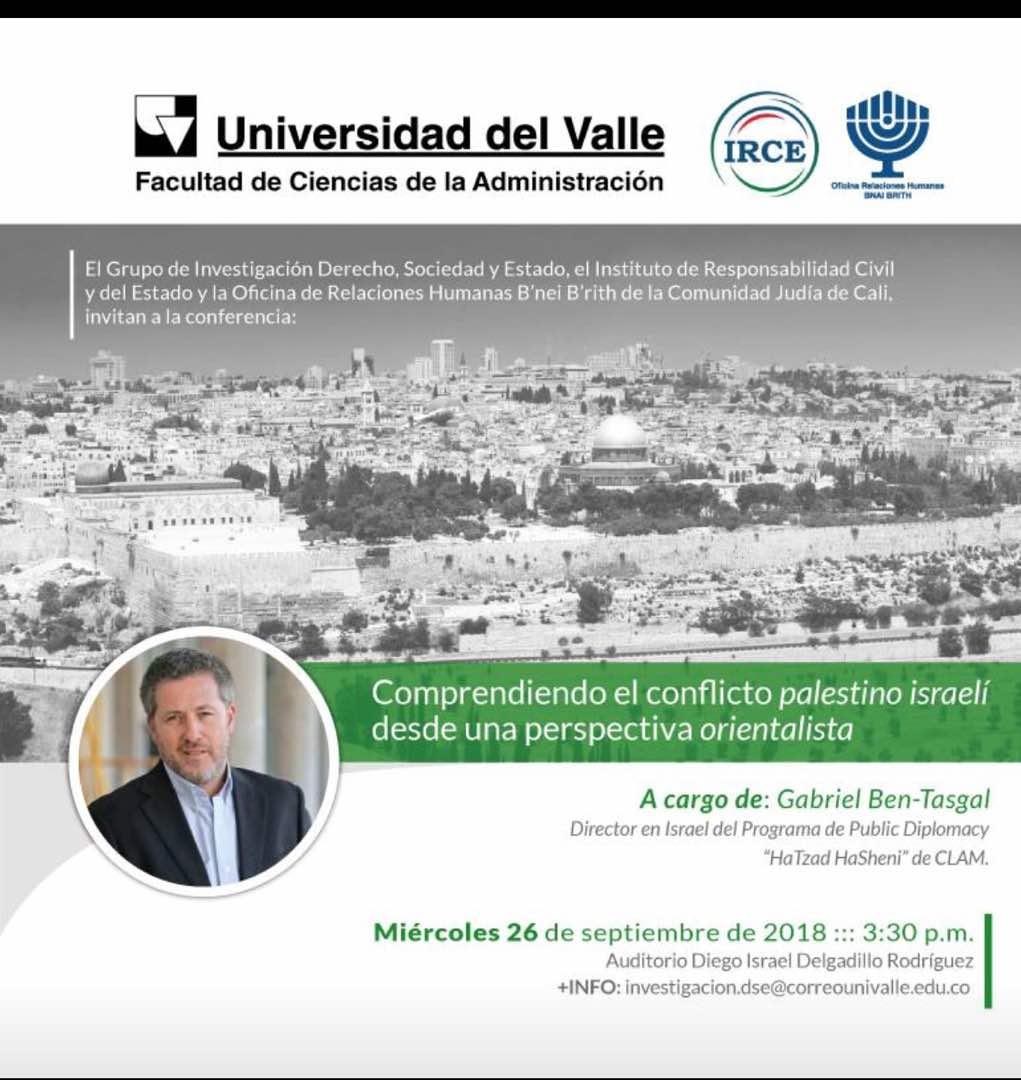 Conferencias de Gabriel Ben Tasgal (Hatzad Hasheni) durante el mes de Setiembre 2018