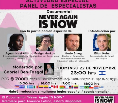 "Panel sobre el Documental ""Never Again is Now"" - Antisemitismo hoy"