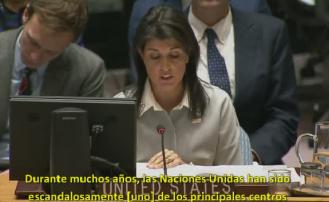 """Nikki Haley en la ONU: """"Israel, como otros países, tiene el derecho a decidir su capital"""""""