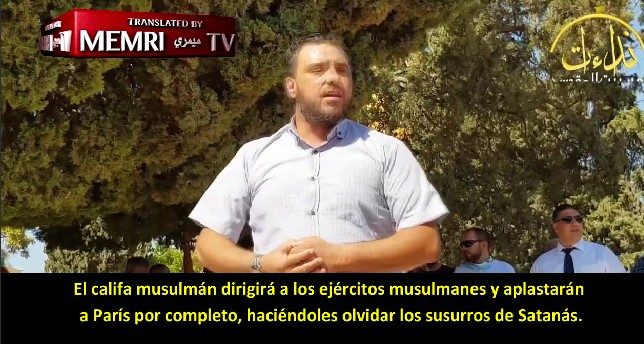 Discurso de Sheikh Ali Abu Ahmad en la mezquita de Al-Aqsa: Boicotear productos franceses no es la respuesta a Macron; Deberíamos establecer un califato, aplastar a París con nuestros ejércitos