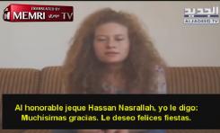 """La recién liberada palestina Ahed Tamimi saluda al líder de Hezbollah Nasrallah: """"Todos le apoyamos"""""""