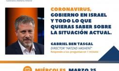 Zoom (25/3/2020) de Gabriel Ben-Tasgal sobre Corona y Crisis Institucional en Israel