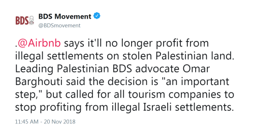Saeb Erekat, Airbnb y el movimiento BDS – Por Embajador Alan Baker (Jerusalem Center for Public Affairs)