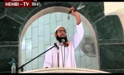 Clérigo de Rafah blande una daga en sermón del veirnes y exhorta a Palestinos a apuñalar judíos