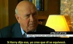 """Frederik de Klerk (Sudáfrica): """"Israel no es un estado Apharteid"""""""